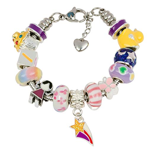 - Timeline Treasures European Charm Bracelet with Charms for Girls, Stainless Steel Snake Chain, Nursery Rhyme, Purple 7 Inch (18cm)