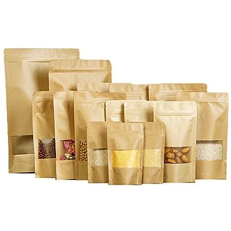 Marron sachets Soufflet en papier craft Forte odeur gratuit avec fenê tre transparente 9x13CM (3.54'' x 5.11'') marron Repackbiz