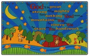 Flagship Carpet Children Learning Floor Playmat Nylon My God Is So Great - 4' x 6' by Flagship Carpets