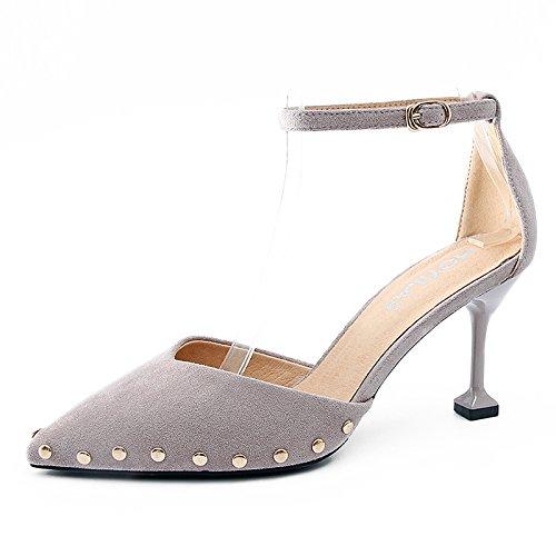 GAOLIM Baotou Sandalias Para El Verano De Campo Femenino De Alto Talón Zapatos Con Punta Fina Pequeña Con Zapatos Y ROSA