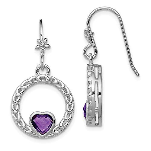 925 Sterling Silver Purple Amethyst Heart Drop Dangle Chandelier Earrings Love Fine Jewelry Gifts For Women For Her