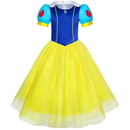 Girls Dress Snow White Princess Cartoon Mermaid Party Costume Ball Size 3