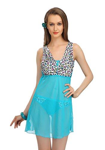 Sona Women's Animal Print Night Dress Free Size Blue