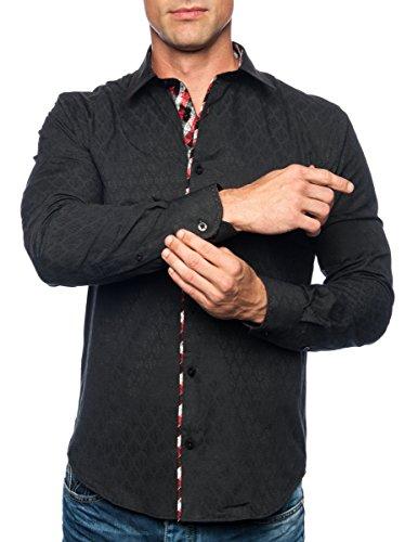 Michael & David Men's Casual Fashion Slim Fit L/S Dress Shirt Black XL MD492