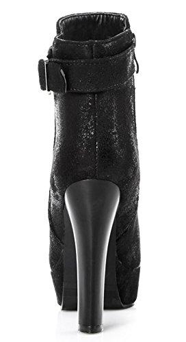 Idifu Sexy Donna Con Fibbia Laterale Con Zip Stivali Alti Talloni Piattaforma Stivaletti Alla Caviglia Nero