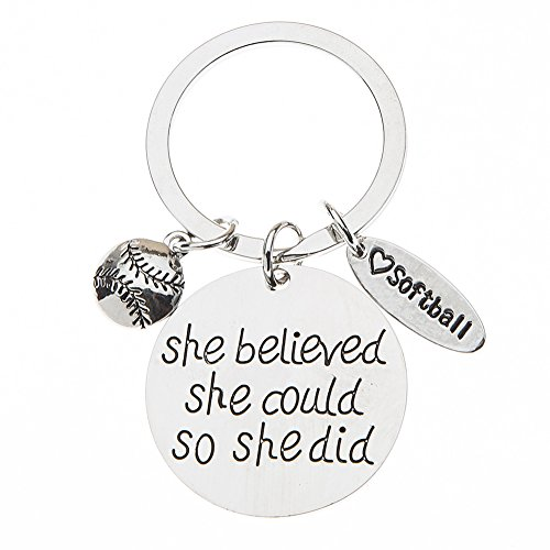 Softball Keychain, Softball Gift, Girls Softball Jewelry, Perfect Softball Player, Team and Coaches Gifts -