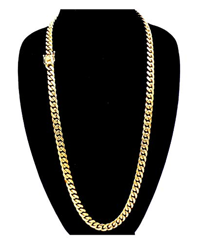 """Cuban Link Necklace 18k Gold Plated Miami Cuban Chain Stainless Steel Fashion Jewelry 8 mm 30"""" ()"""