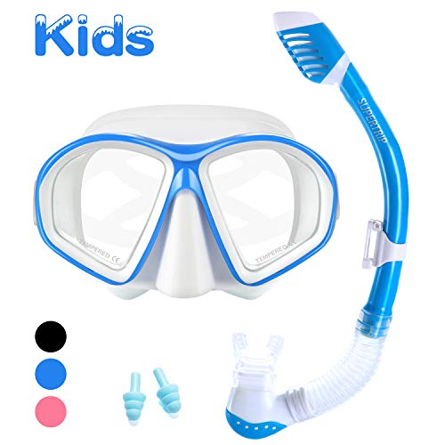 Supertrip Kids Snorkel Set-Scuba Dry Top Diving Mask Anti-Leak Impact Resistant Panoramic Tempered Glass Easybreath Snorkeling Packages Professional Swimming gear for Youth Boys and Girls (White blue) ()