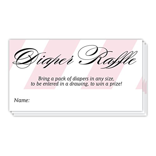 Diaper Raffle Drawing Tickets 48 Pack Baby Shower Guest Invitation Inserts Fill In Signature Cards Pink Stripe Infant Daughter It's a Girl! Party Game Raffling Off Prizes 3.5 x 2 Inches Digibuddha ()