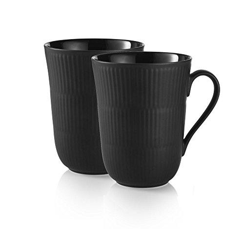Black Fluted 11 oz. Mug (Set of 2)