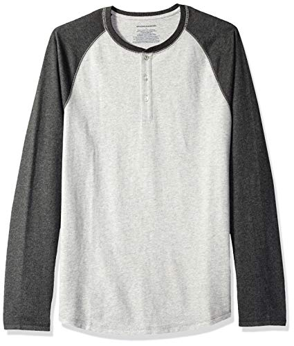 Amazon Essentials Men's Slim-Fit Long-Sleeve Baseball Henley Shirt, Light Heather Grey/Charcoal Heather,...