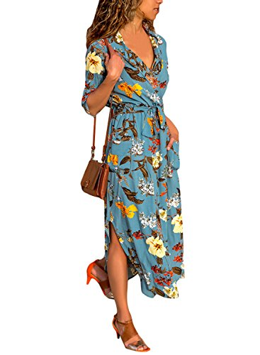 Dokotoo Womens Dress Modest V Neck Summer Autumn Casual High Waist Floral Print Shift Maxi Long Dress with Belt Large (Floral Print Shift Dress)