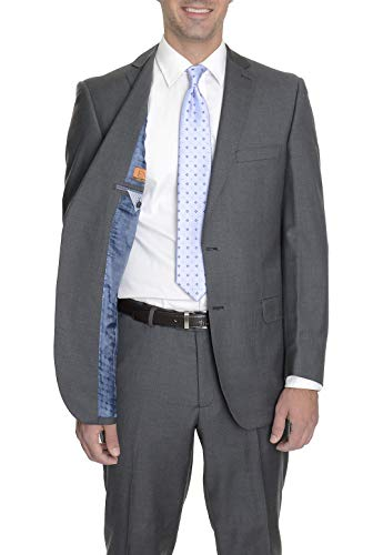 Label E Modern Fit Solid Gray Wool Suit (150's Super Charcoal Wool Suit)
