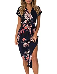 Women's Wrap V Neck Spaghetti Strap Floral Split Beach...