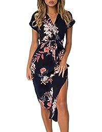 Women s Wrap V Neck Spaghetti Strap Floral Split Beach Casual Dress 0d6426cda