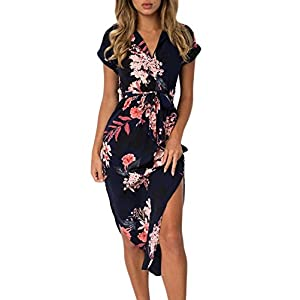 Dearlove Women's Wrap V Neck Spaghetti Strap Floral Split Beach Casual Dress