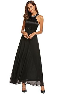 ANGVNS Women's Sleeveless Rhinestones Halter Neck Chiffon Flowy Maxi Evening Cocktail Dress