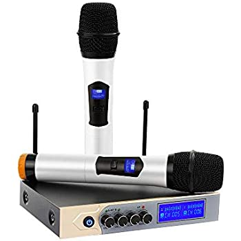archeer uhf bluetooth wireless microphone system with lcd display dual channel