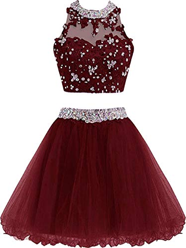 XIA Two Piece Homecoming Dress Cute Lace Prom Dress for Junior Short Ball Gown Bridesmaid Dresses Applique X195CY Burgundy