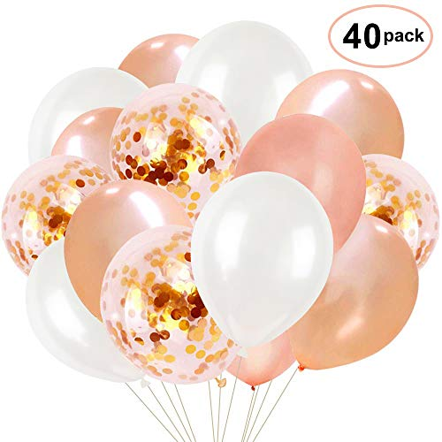 40pcs Rose Gold Confetti Balloons - 12 Inch Latex Party Balloons Perfect for Party Wedding Birthday Decorations,Bridal Shower,Baby Shower, Bachelorette - 12 Inch Shower Rose