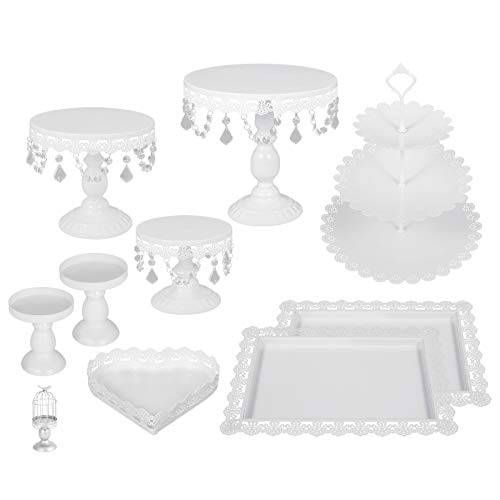 (Happybuy 9 PCS White Antique Cake Stand Set 3-Layer Tower Cake Plate Rectangle Cake Pans for Wedding Birthday Party Round Metal Cake Stands with Crystal Pendants and Beads (9PCS, White))
