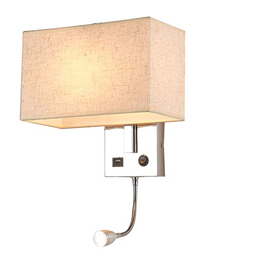 (American Bedside Wall Lamp With USB Connector Creative Led Aisle Lights Chinese Style Fabric Bedroom Bedside Lamp Hotel Reading Wall Sconce,Beige)