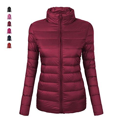 EQUICK Women's Ultra Lightweight Down Jacket Packable long sleeve Coat,wine,M