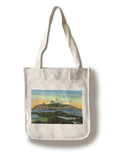 York, Maine - View of the Nubble Lighthouse at York Beach (100% Cotton Tote Bag - Reusable)