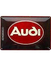 Nostalgic-Art Metalen Retro Bord, Audi – Logo Red Shine – Geschenkidee voor fans van autoaccessoires, van metaal, Vintage ontwerp, 20 x 30 cm