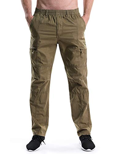 (OCHENTA Men's Full Elastic Waist Lightweight Workwear Pull On Cargo Pants #08 Soil Yellow Tag 5XL - US 42)