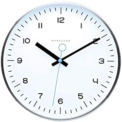 Marksson The Crosby Stainless Steel Wall Clock Silent Non-Ticking Wall Clock, 12 Quartz, Premium Materials, High End Mechanism, Ten Colors (White/Sky Blue)