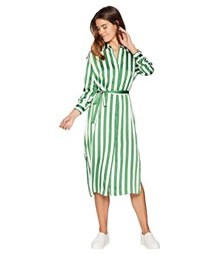 Juicy Couture Women's Awning Stripe Satin Dress Green Tea Awning Stripe Petite/X-Small