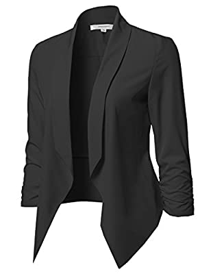 Awesome21 Women's Solid Open Front Shirring Sleeve Blazer