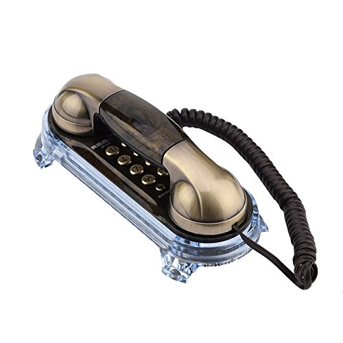 (Antique Retro Wall Mounted Telephone Fashionable Corded Phone Vintage Telephone Landline Telephone with Bottom Light for Placing Table and Hanging Wall (Bronze))