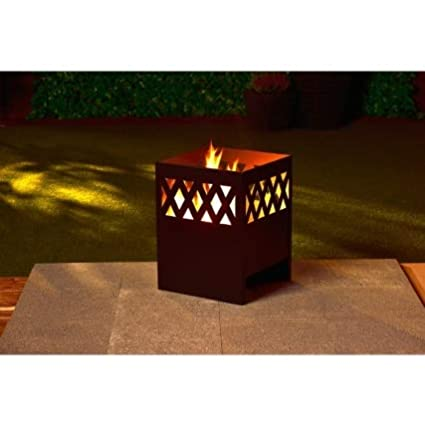 CrazyShop1 Large Montana Square Log Burner Metal Outdoor Garden Fire Square Basket Garden Fire Pit Incinerator