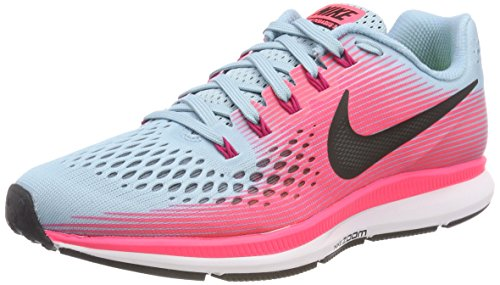 NIKE Women's Air Zoom Pegasus 34 Running Shoe Wide Mica Blue/White/Racer Pink/Sport Fuchsia Size 8 Wide US