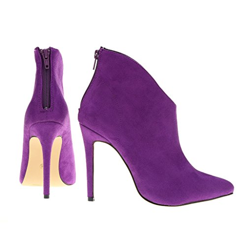 Thin EKS High Women's Boots Heels Dress Peep Zesvi Short Wedding Pointed suede Purple Classic Toe ZqApFxqY