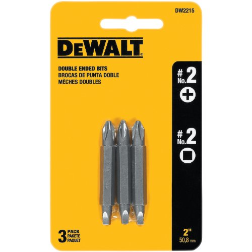 2 Double End Screw Bit (DEWALT DW2215 #2 Phillips and #2 Square Recess Double Ended Screwdriver Bit (3-Pack))