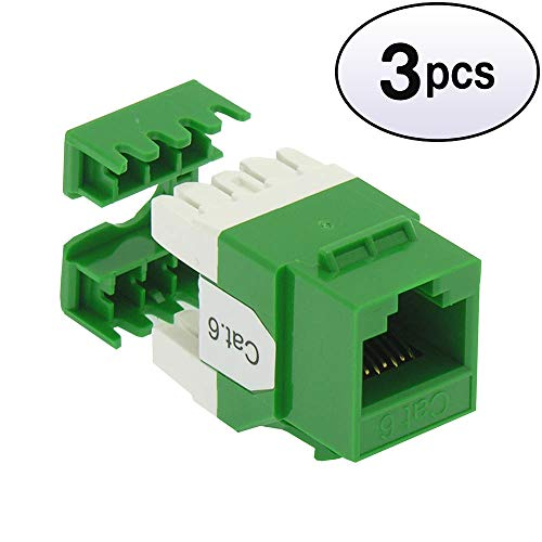 (GOWOS (3 Pack) Cat.6 RJ45 110 Type 180° Keystone Jack Green)