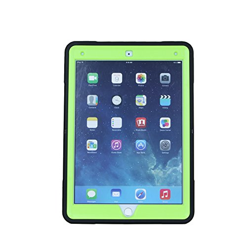 Cellular360 Shockproof Case for Apple iPad Air 2 , Protective and Handy Case with 360 Degrees Rotatable Kickstand and Leather Handle (Black/Green) by Cellular360 (Image #1)