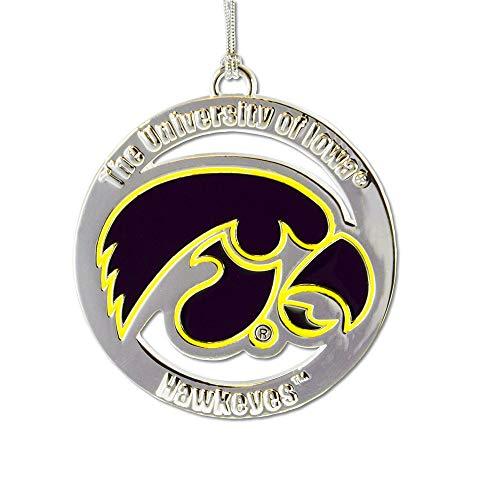 Fan Frenzy Gifts NCAA Iowa Hawkeyes Silver Ornament (Of Iowa Christmas University Ornaments)