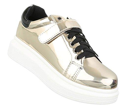 Damen Freizeitschuhe Schuhe Sneakers Sportschuhe Turnschuhe Gold