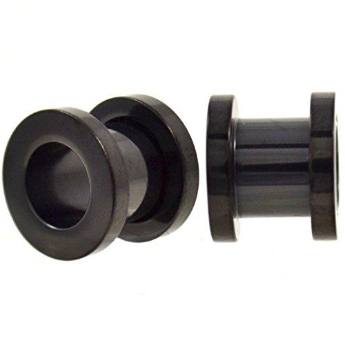 - Pair of Solid Black Titanium Plated Ear Tunnels Plugs Screw-On Gauges - 1 Gauge(1G-7mm)