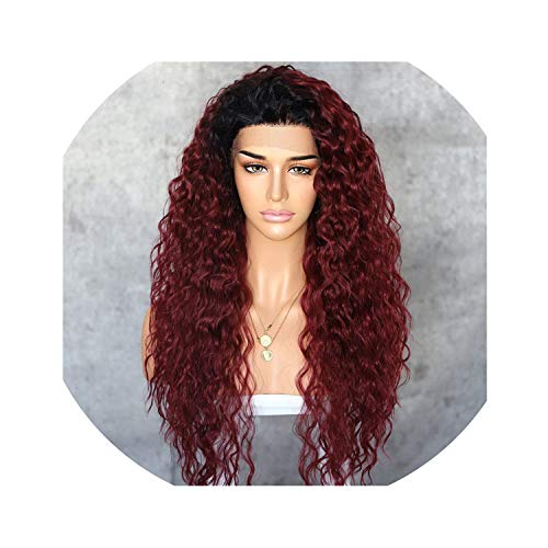 Peony red Kinky Curly Type Futura Heat Resistant Hair Black Highlight Gold Women Daily Makeup Synthetic Lace Front Party Wig,OmbreRed,150%,Lace Front,26inches