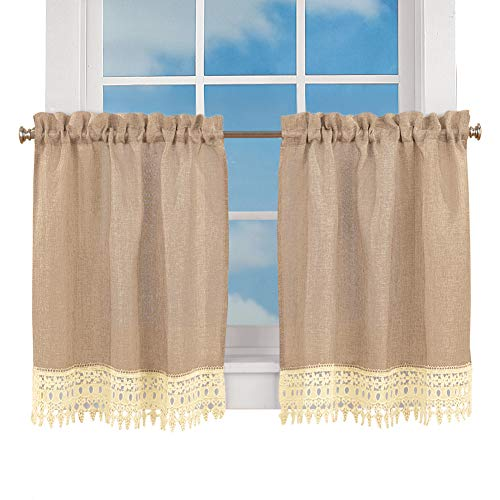 Collections Burlap Lace Café Kitchen Curtain with Rod Pocket Tops, 24