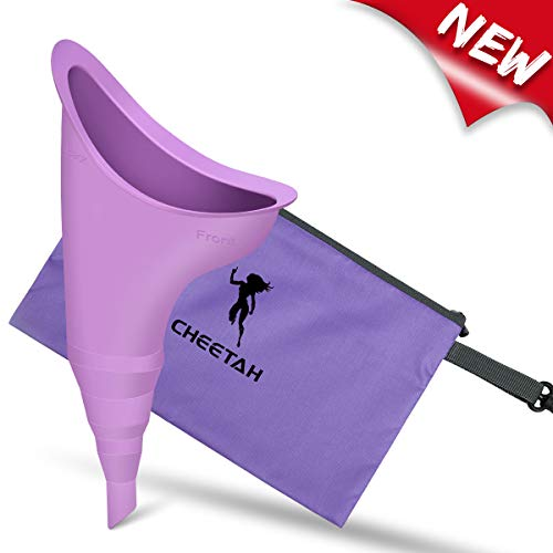 Cheetah Female Urination Device - Pee Standing Up - Reusable Portable Urinal for Women - Lightweight Design for Outdoor Activities - with Discreet Carry Bag-Purple
