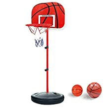 Height Adjustable and Stable Basketball Stand with Ball and Pump for Children and Youngsters