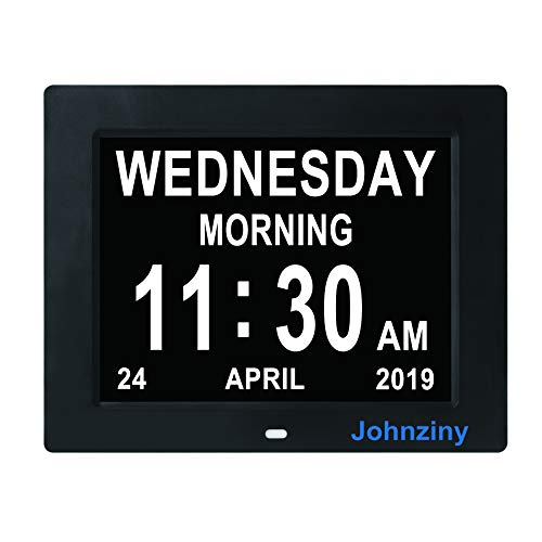 Johnziny Digital Calendar Day Clock- 8 Alarms Dementia Alzheimer Memory Loss Vision Impaired Battery Backup Alarm Clock for Seniors Elderly with Play Video Photo Function
