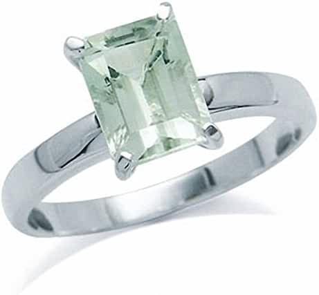 1.48ct. Natural Green Amethyst 925 Sterling Silver Solitaire Ring