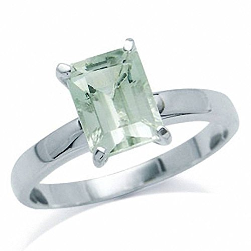 Green Amethyst Solitaire Ring (1.48ct. Natural Green Amethyst 925 Sterling Silver Solitaire Ring Size 6)